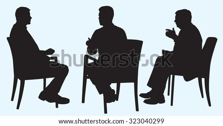 Silhouette of Business Men Having Discussion - stock vector