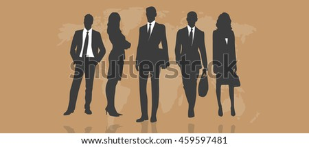 Silhouette of business people, winner business team. Vector illustration. Copy space.