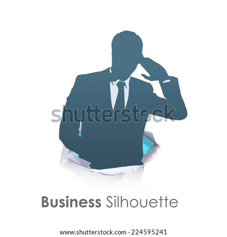 Silhouette of businessman listening over isolated white background  - stock vector
