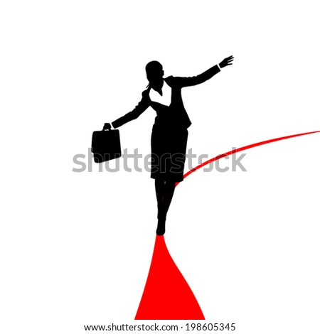 silhouette of businesswoman with case walking on red line - stock vector