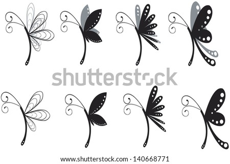 silhouette of butterflies - stock vector