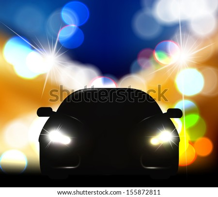 Silhouette of car with headlights against night traffic light background. - stock vector