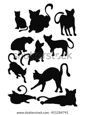Silhouette Cats Black Cats Drawing By Stock Vector 455284741