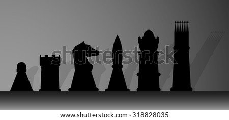 Silhouette of chessmen. King and play, game and chess, queen and pawn, knight and rook. Vector graphic illustration - stock vector
