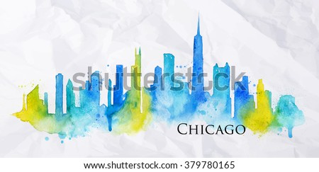 Silhouette of Chicago city painted with splashes of watercolor drops streaks landmarks in blue with yellow - stock vector