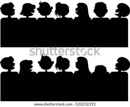 Silhouette of Child Audience. Individual characters are easy to move or rearrange. - stock vector