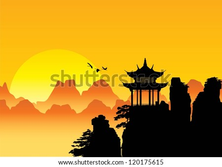 Silhouette of Chinese landscape with pagoda and mountains background, Vector - stock vector