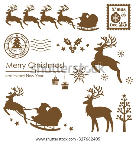 Silhouette of christmas elements - stock vector