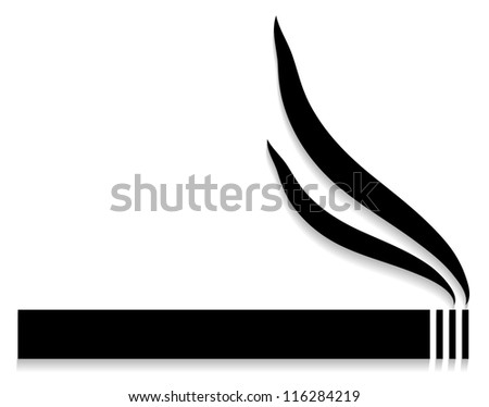 Silhouette of cigarette on white background - vector - stock vector