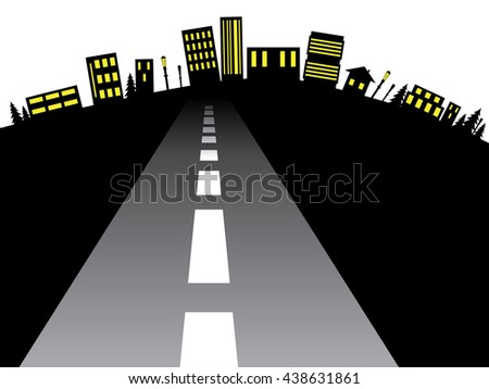 Silhouette of city abstraction with the road leading to it. - stock vector
