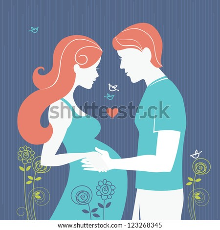 Silhouette of couple. Background with regnant woman and her husband - stock vector