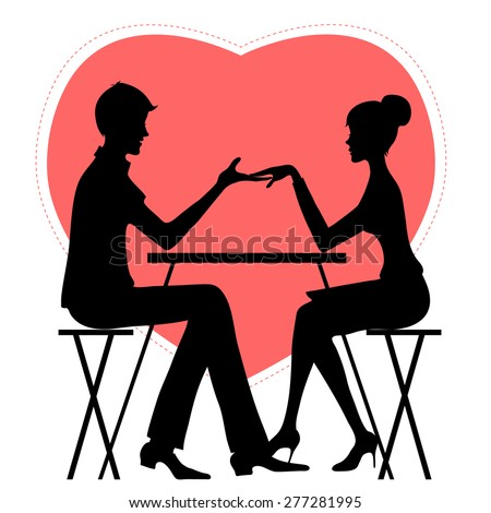 Silhouette of couple in café on the background with red heat - stock vector