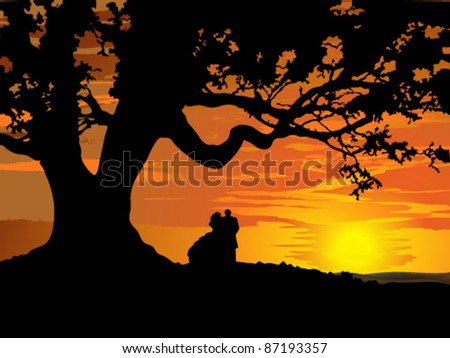 Silhouette of couple in love to tree at sunset - stock vector