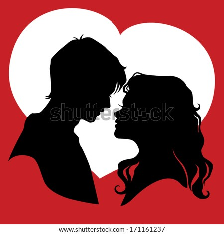 Silhouette of couple in love. Vector illustration
