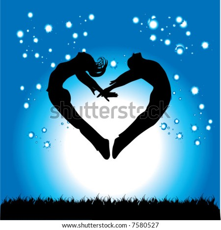 Silhouette of couple in the form of heart on a background of the night sky - stock vector