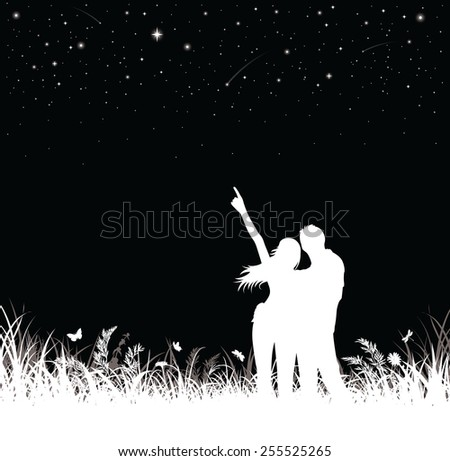 Silhouette of couple standing and watching the night sky. - stock vector