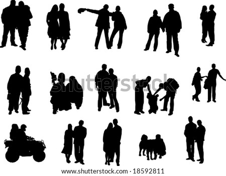 silhouette of couples of people - stock vector