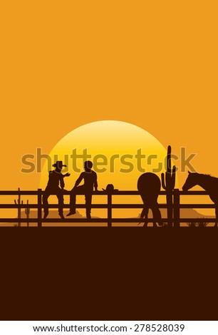 Silhouette of cowboys sitting on fence at sunset, vector - stock vector