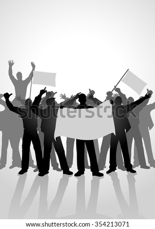 Silhouette of crowd of people cheering while holding flags. Sport fans, demonstration, celebration theme - stock vector