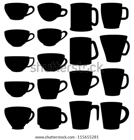 Silhouette of cup and mug - stock vector