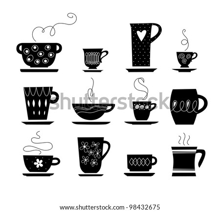 silhouette of cup of tea or coffee - stock vector