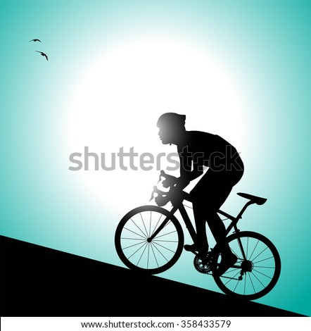 silhouette of cyclist pedaling uphill - stock vector