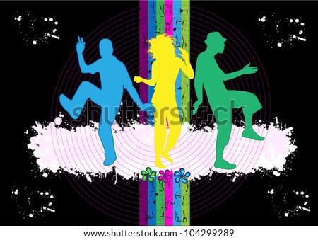 silhouette of dancing people - stock vector