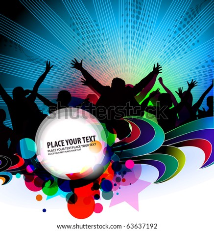 silhouette of dancing people with party  banner background. - stock vector