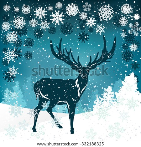 Silhouette of deer with big antler on winter background