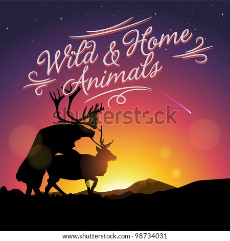 Silhouette of deers copulate in northern lights in foreground, vector illustration