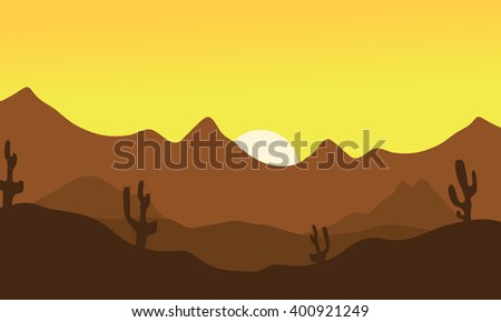 Silhouette of desert and cactus at the morning - stock vector