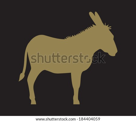 Silhouette of donkey - stock vector