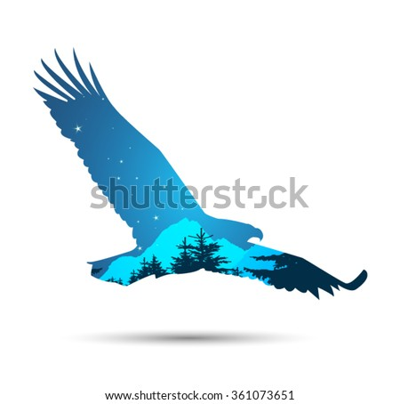 Silhouette of eagle with coniferous trees and snowy rocks on the background of night sky. Eps 10. - stock vector