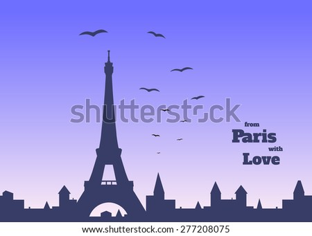 silhouette of Eiffel tower, old town and flock of birds on delicate blue and pink background with inscription,  vector illustration - stock vector