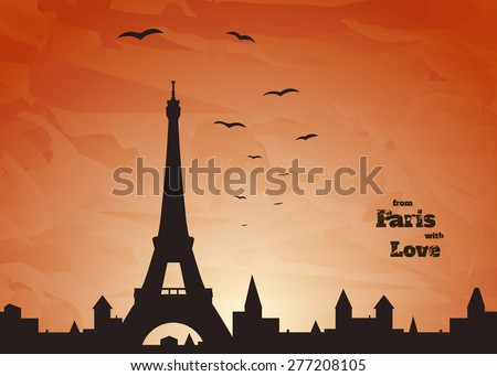 silhouette of Eiffel tower, old town and flock of birds on delicate orange background with inscription,  vector illustration - stock vector