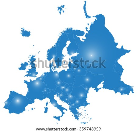 silhouette of Europe, with capitals - stock vector