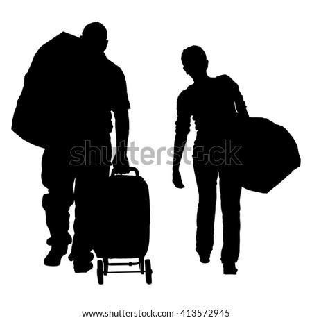 Silhouette of family with luggage walking at airport vector illustration. Suitcase on luggage conveyor belt in the baggage claim at airport. Just married go to honeymoon.  - stock vector