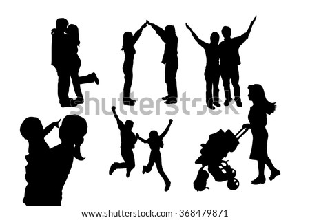 silhouette of family with white background, great for your design - stock vector