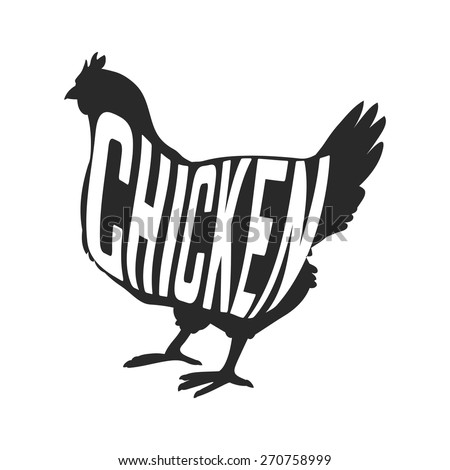 Silhouette of farm Hen black with text inside on white background isolated. Vector illustration - stock vector