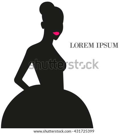 Silhouette of fashion girl. Vector illustration Silhouette fashion girl in dress-tutu. Bright pink lips on black background. Silhouette fashion girl in cocktail dress - stock vector