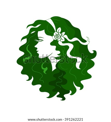 Silhouette of female head of beautiful hair. Logo, sign, symbol, logo or spa, hairdresser, beauty salon - stock vector