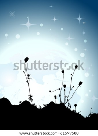 silhouette of flowers with full moon - stock vector