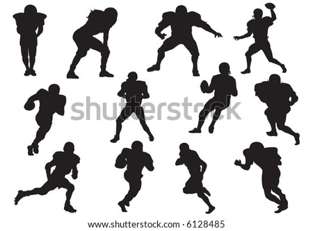 Silhouette of football players (defender-quarterback)