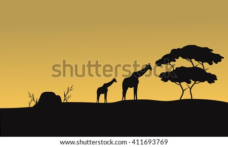 Silhouette of giraffe and tree at the sunset - stock vector