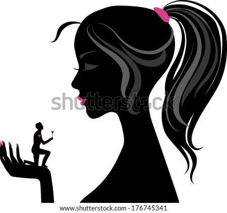 Silhouette of girl, holding on the opened hand miniature man with rose - stock vector