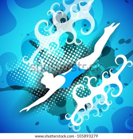 Silhouette of girl swimmer on creative abstract background with grunge effect. EPS 10. - stock vector