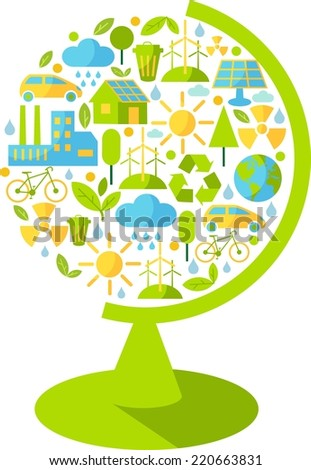 Silhouette of globe  with ecology icons  - stock vector
