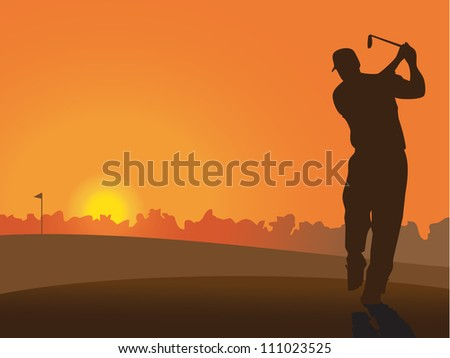 Silhouette of golfer on the course at sunset - stock vector