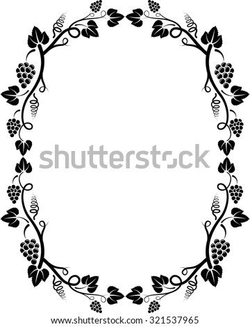 silhouette of grapevine frame - stock vector
