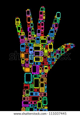 Silhouette of hand made with Cellphones and Smartphones in black background - stock vector
